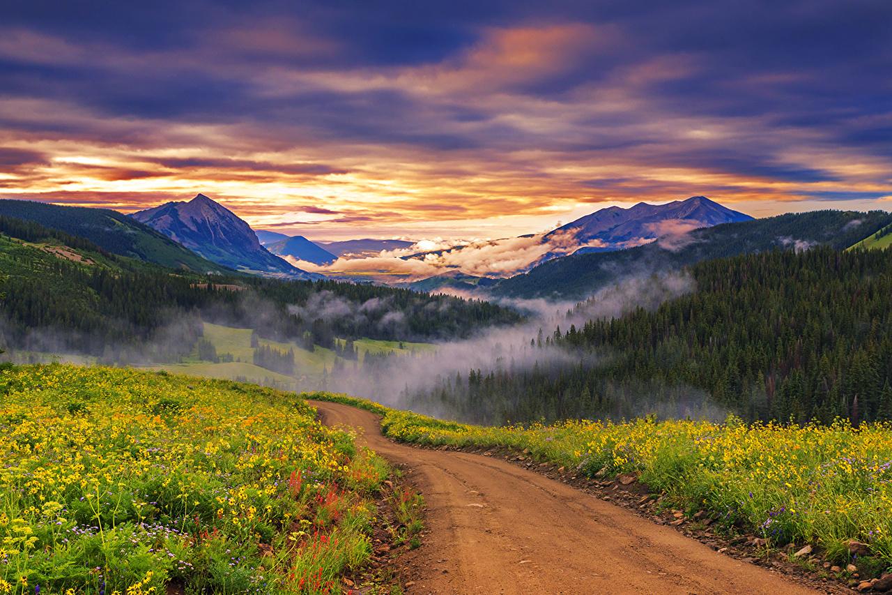 Foto's Bergen Natuur weg Landschap van Zonsopgangen en zonsondergangen Gras berg Wegen