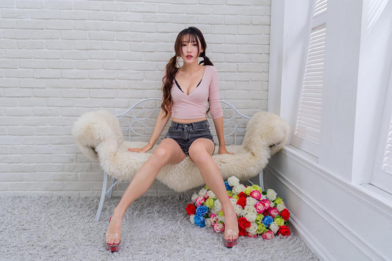 Bilder Bluse Rose Mädchens Bein Asiatische sitzt Shorts Blick Rosen junge frau junge Frauen Asiaten asiatisches sitzen Sitzend Starren