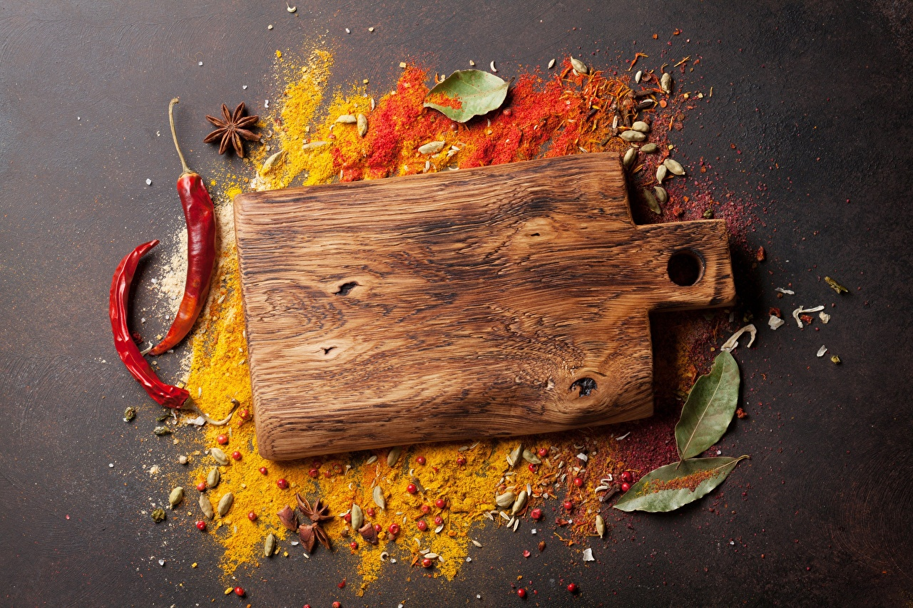 Photo Chili pepper Seasoning Cutting board Spices