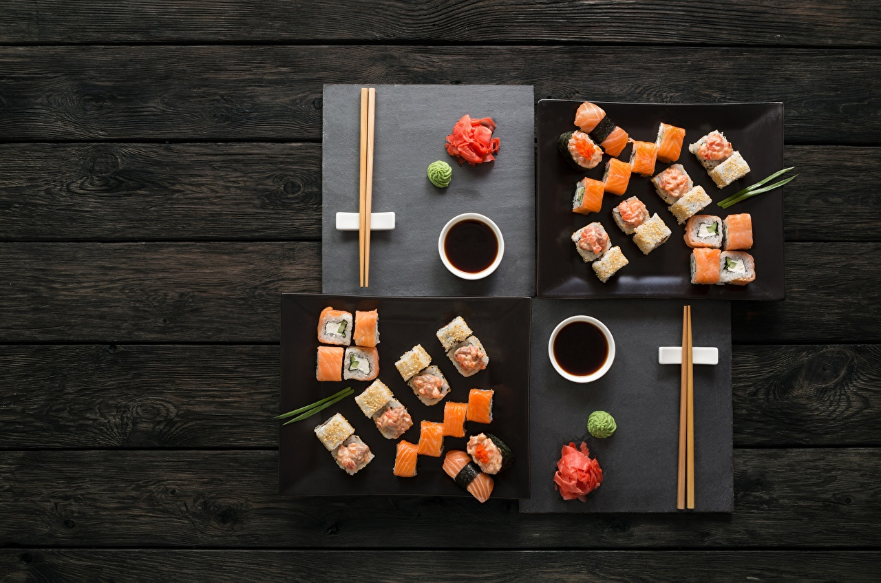 Picture soya sauce Sushi Fish - Food Food Chopsticks Wood planks Soy sauce boards