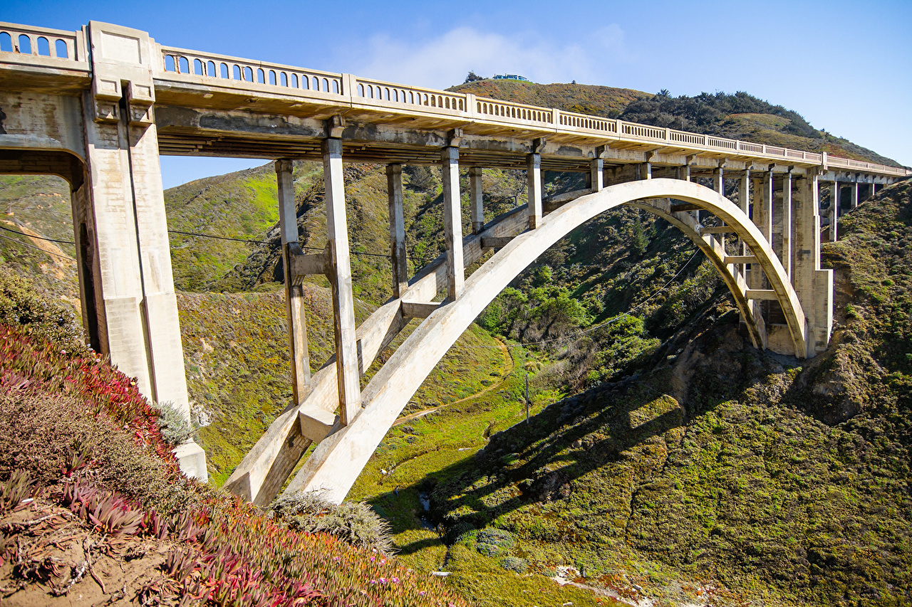 Photo California USA Bixby Creek Bridge Nature Bridges mountain bridge Mountains