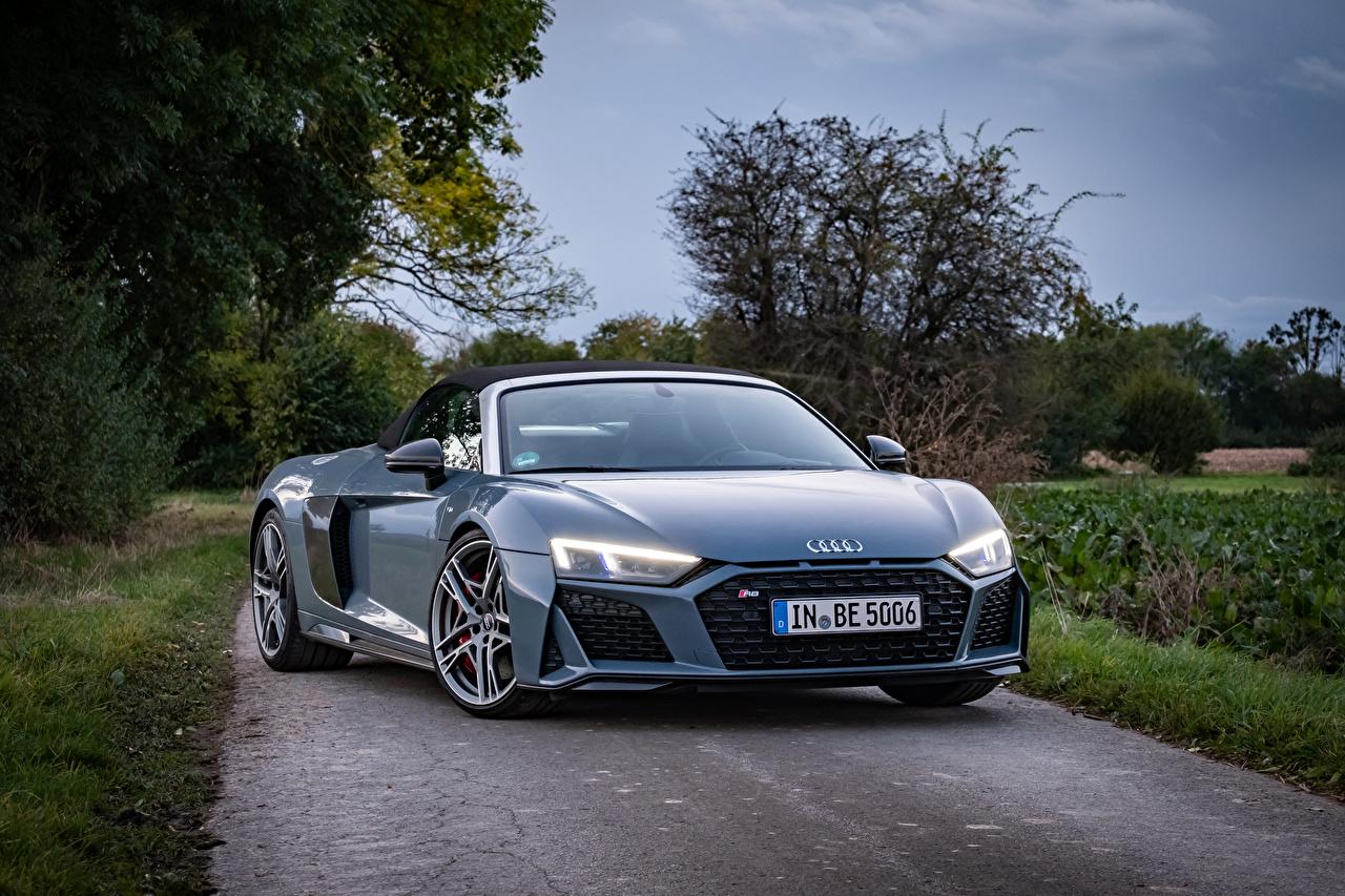 Fotos Audi R8 V10 performance Spyder, 2020 Roadster graue auto Metallisch Grau graues Autos automobil