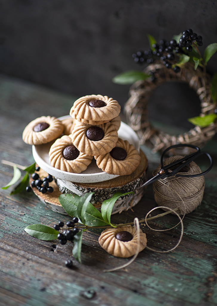 Photo Food Berry Cookies Branches Still-life boards  for Mobile phone Wood planks