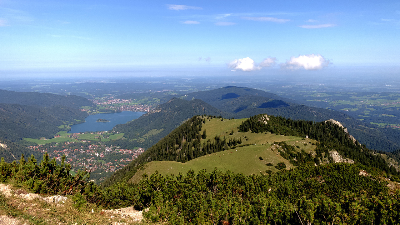 Wallpaper Bavaria Germany Schliersee Nature Lake Hill forest From above Forests