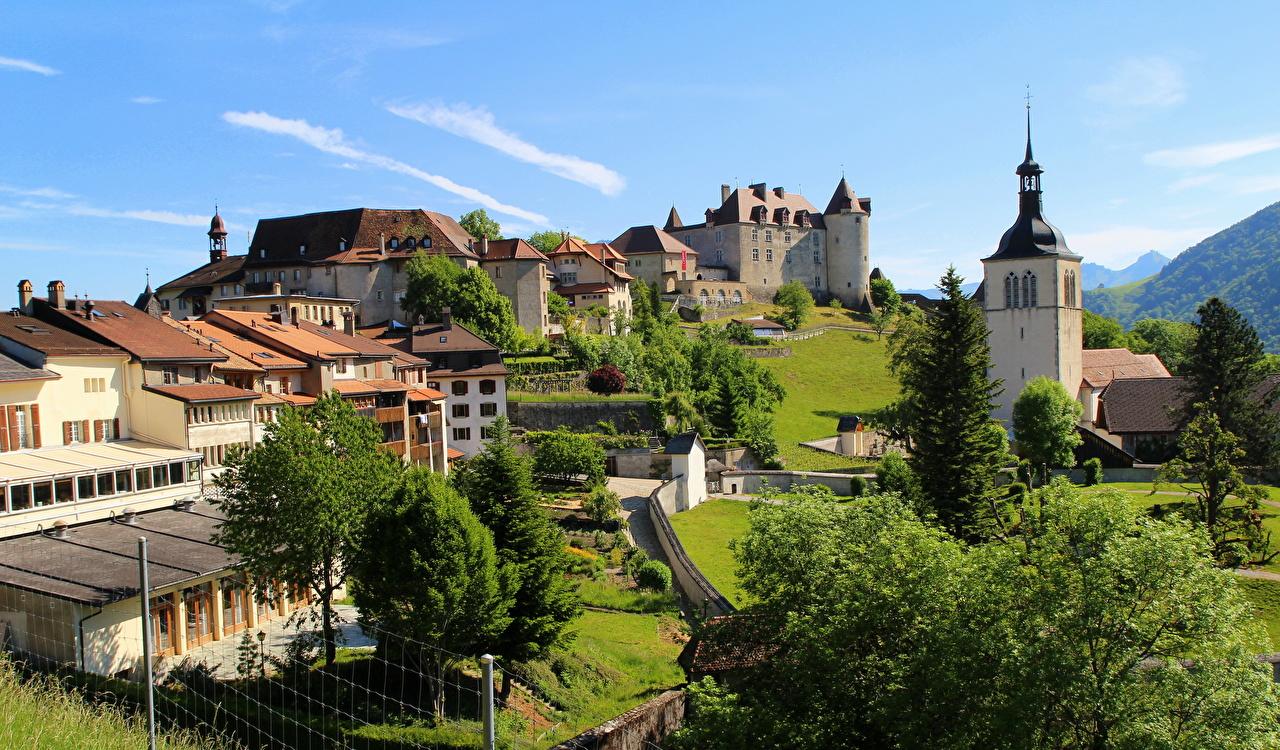 Photo Switzerland Fribourg Gruyere Cities Building Houses