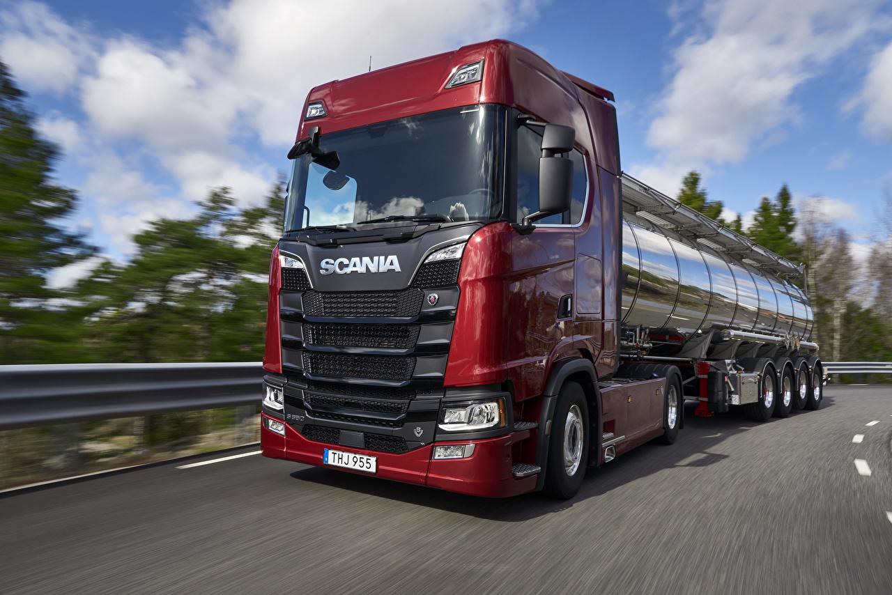Bakgrunnsbilder til skrivebordet Scania Lastebiler S 650 Rød går bil lastebil Bevegelse Biler automobil