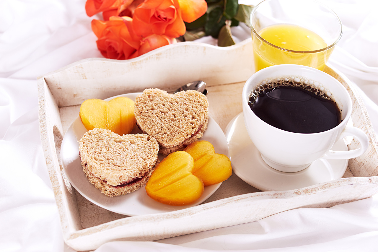 Picture Heart Coffee Breakfast Bread Butterbrot Cup Food