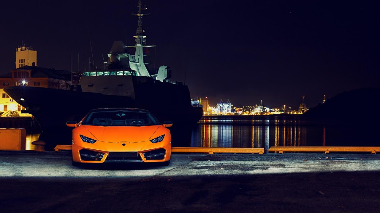 Wallpapers Lamborghini Huracan 2016 LP 580-2 Orange Front Night automobile auto Cars night time