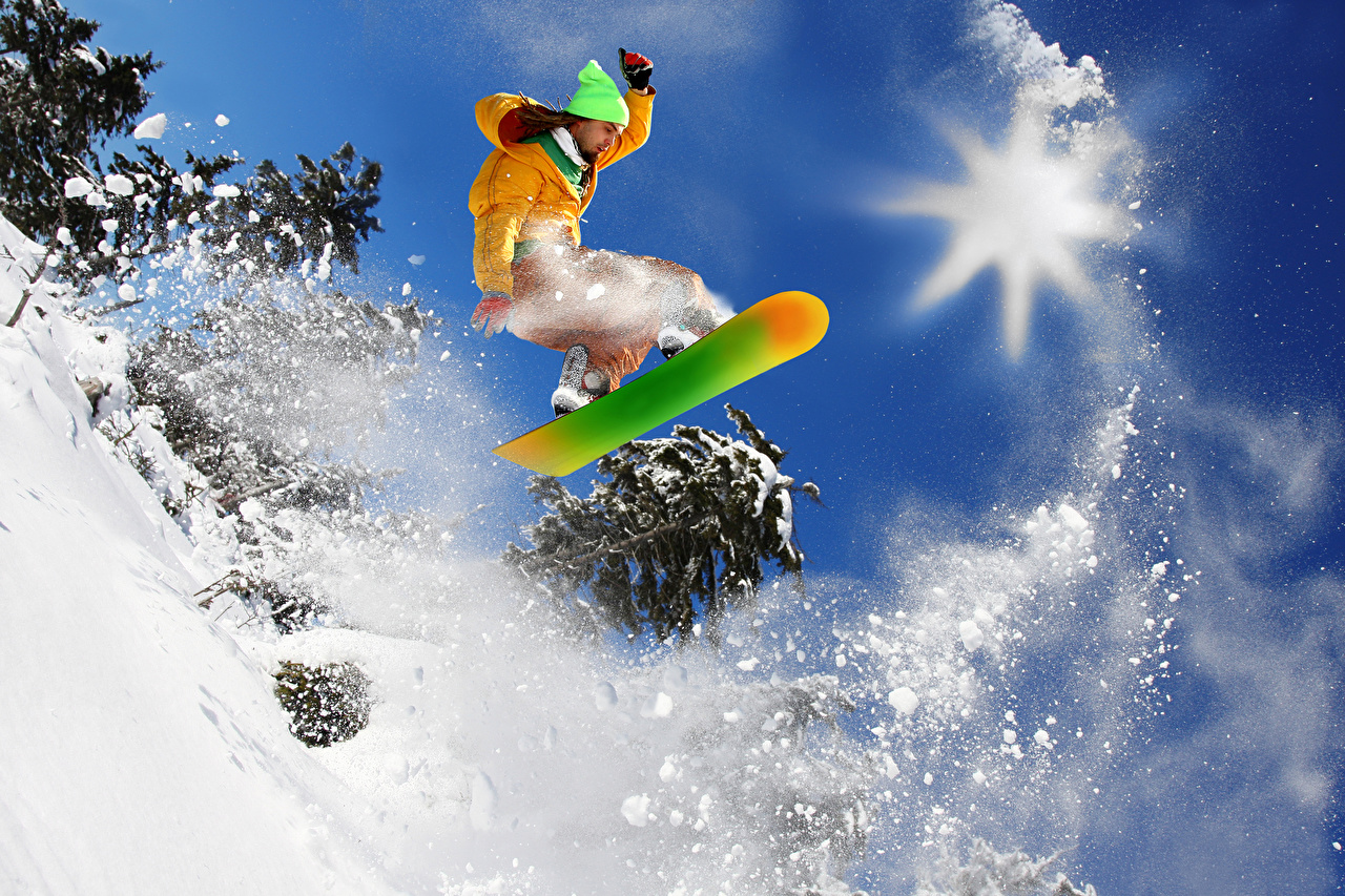 Images Man Sport Winter Snowboarding Snow Jump Men sports athletic
