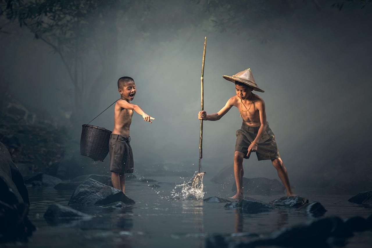壁紙 アジア人 釣り 2 二つ 少年 帽子 子供 ダウンロード 写真