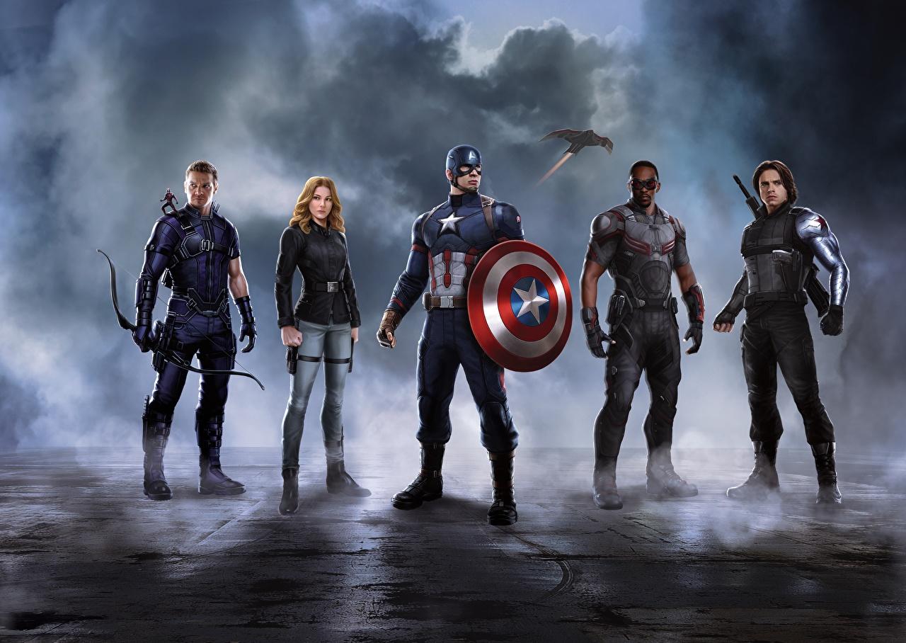 Desktop Wallpapers Captain America: Civil War Scarlett Johansson Shield Iron Man hero Captain America hero film Celebrities Movies