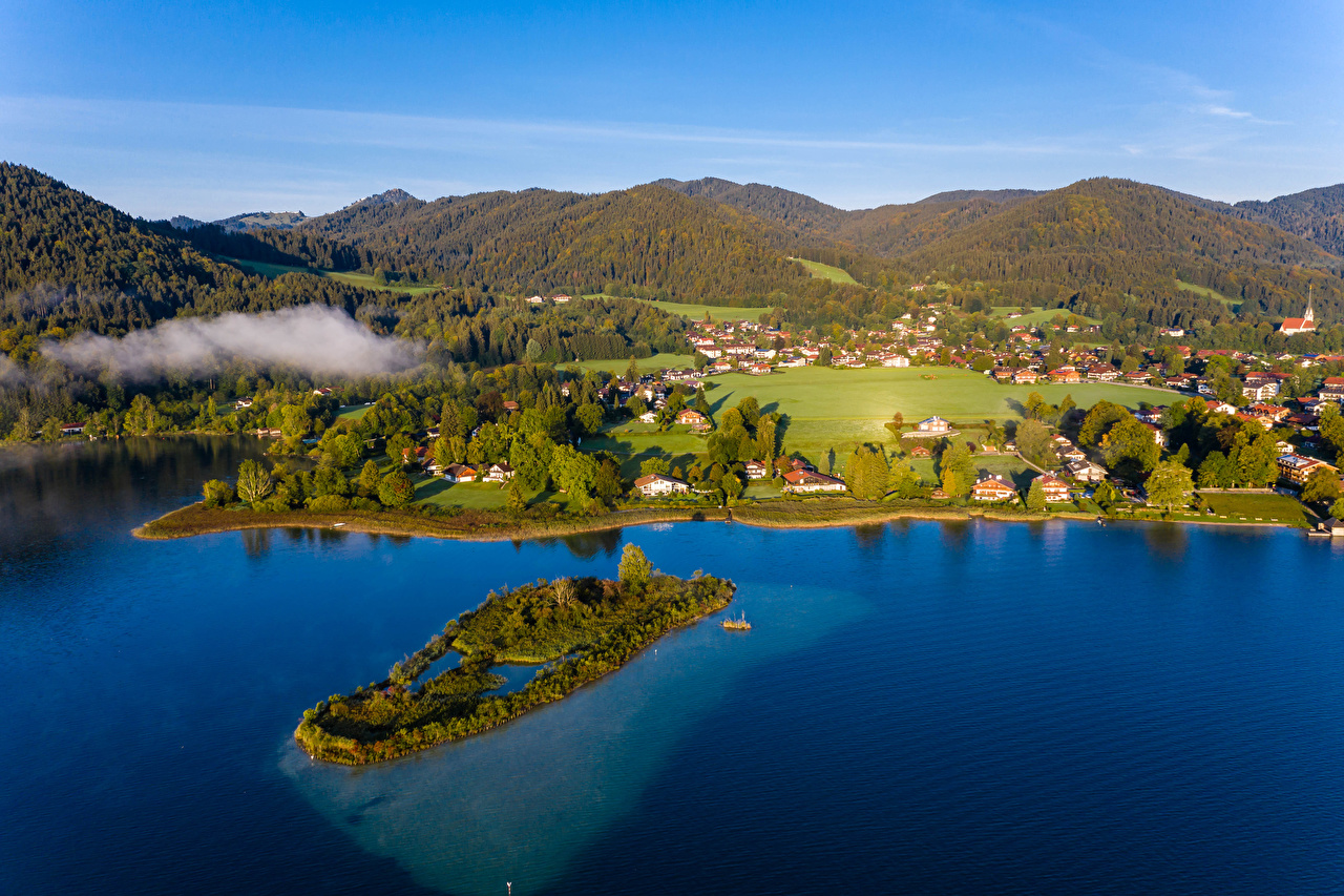 Wallpaper Bavaria Germany Berge Nature Hill Island Forests river Houses forest Rivers Building