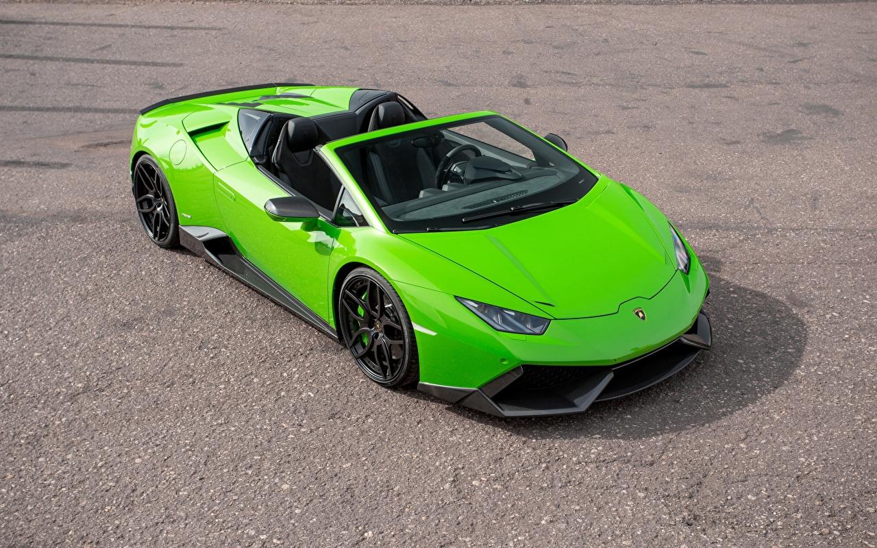 Bilder Lamborghini Spyder Novitec Torado Huracan Roadster hellgrüne automobil Gelb grüne auto Autos