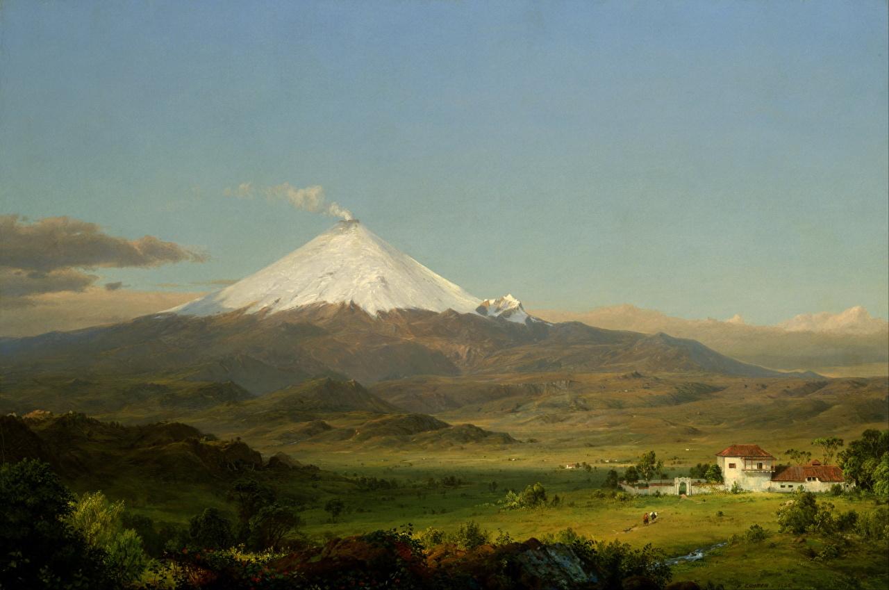 Tapeta Wulkan Frederic Edwin Church, Cotopaxi obraz wulkany wulkanu Malarstwo