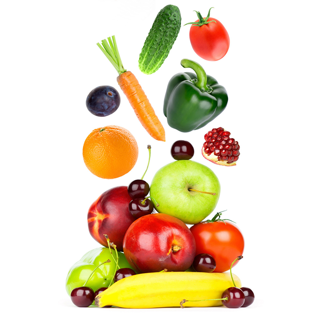 Pictures Carrots Tomatoes Cucumbers Orange fruit Plums Apples Cherry Peaches Pomegranate Food Bell pepper White background