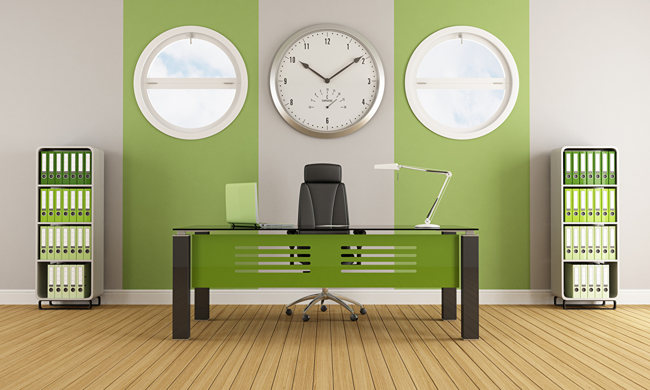 Pictures Clock 3D Graphics Interior Table Office