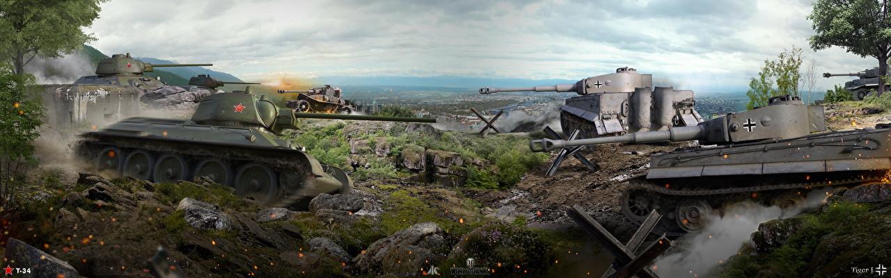 Bilder WOT T-34 Panzer Tiger I Spiele World of Tanks