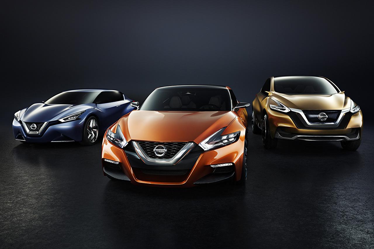 Foto Nissan 2014 Sport Sedan Berlina Arancione trio Auto Davanti Tre 3 macchina macchine automobile autovettura Vista frontale