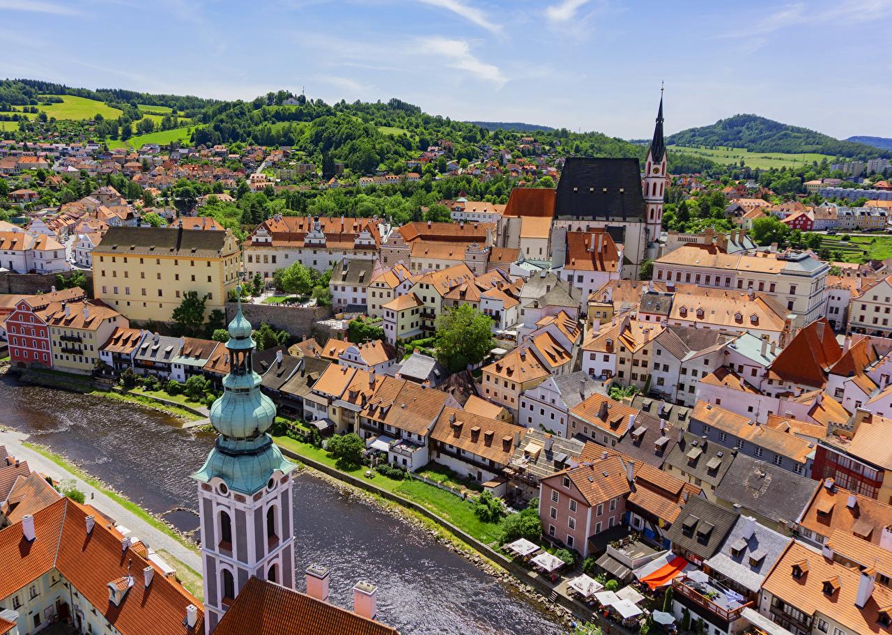 、チェコ、住宅、川、Krumlov、上から、屋根、建物、都市、