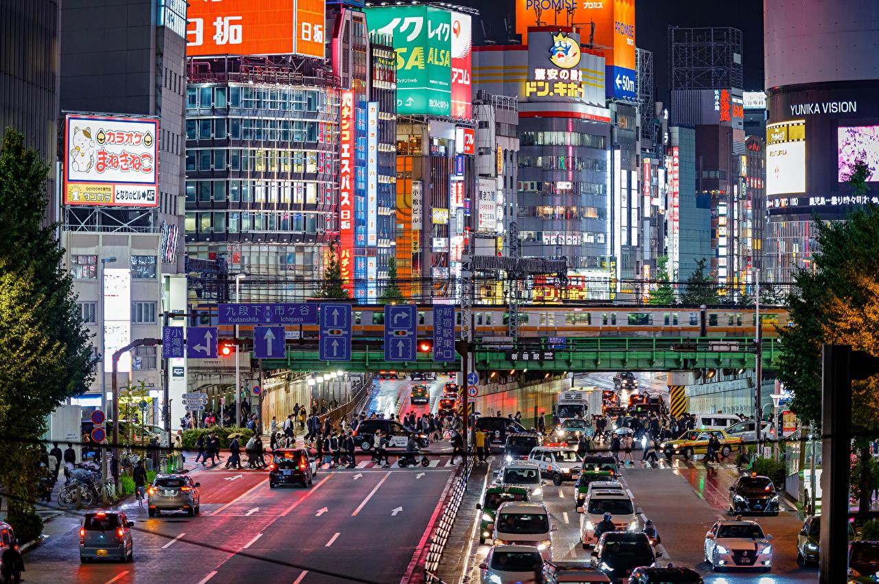 Picture Tokyo Japan megalopolis Roads Evening Cities Building Megapolis Houses