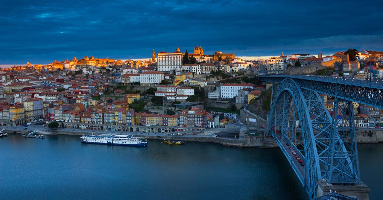 Photos Porto Portugal panoramic river Douro bridge Rivers Houses Cities Oporto Panorama Bridges Building