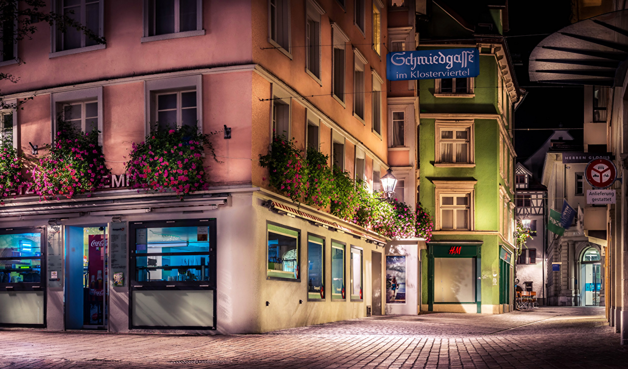 Foto Svizzera St.Gallen HDR Via della città Lampioni notturna Città edificio Notte Di notte La casa