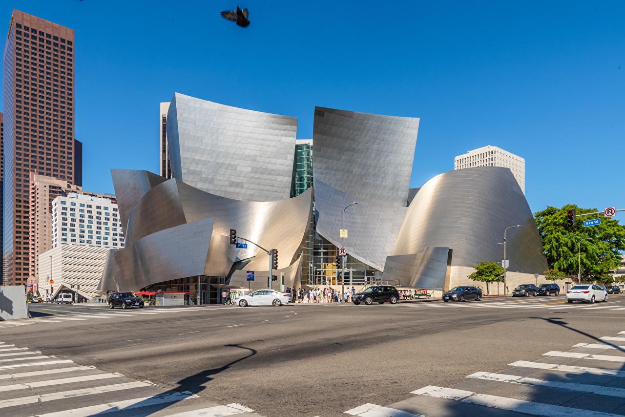 壁紙 アメリカ合衆国 住宅 Walt Disney Concert Hall カリフォルニア州 ロサンゼルス デザイン ストリート 都市 ダウンロード 写真