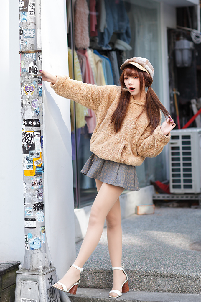 Image Skirt Brown haired Pose young woman Legs Asian Sweater Baseball cap  for Mobile phone posing Girls female Asiatic