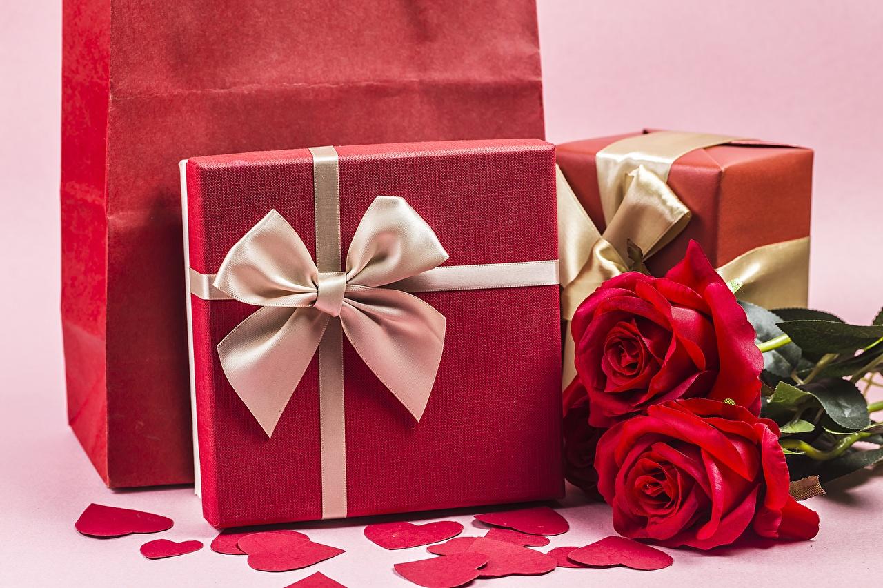 Fotos Valentinstag Herz Rosen Blüte Geschenke Schleife Rose Blumen