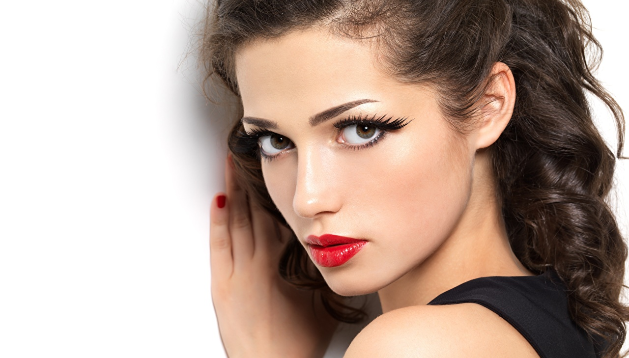 Picture Makeup Beautiful Face young woman Glance Red lips White background Girls female Staring