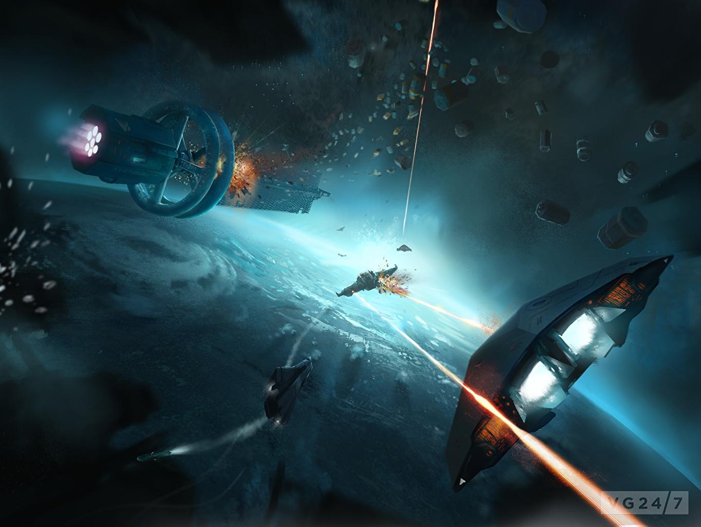 Photos Explosions Elite: Dangerous Space Fantasy Ships Games fighting Technics Fantasy ship vdeo game Battles
