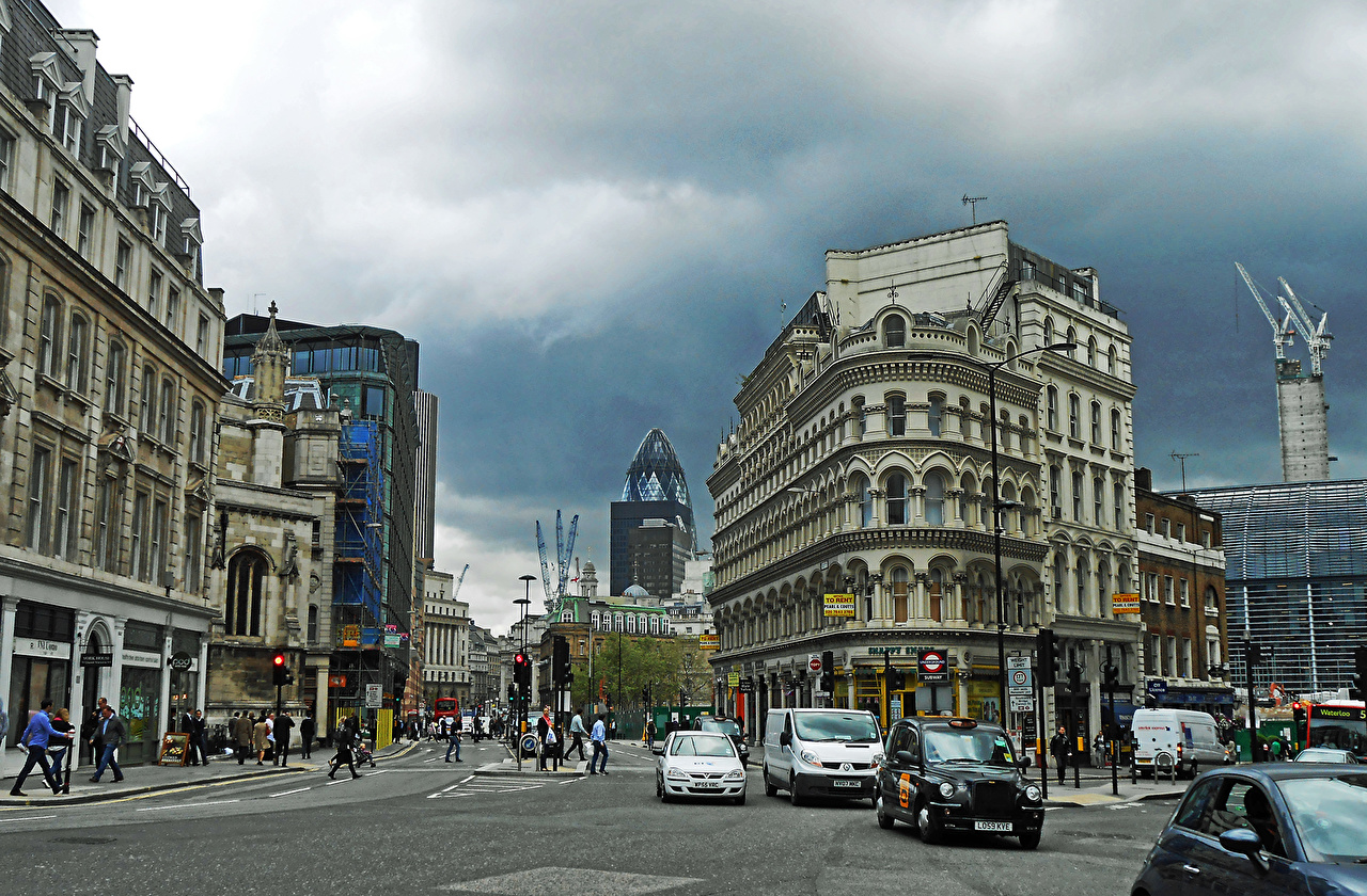 Picture London England Street Cities Building Houses