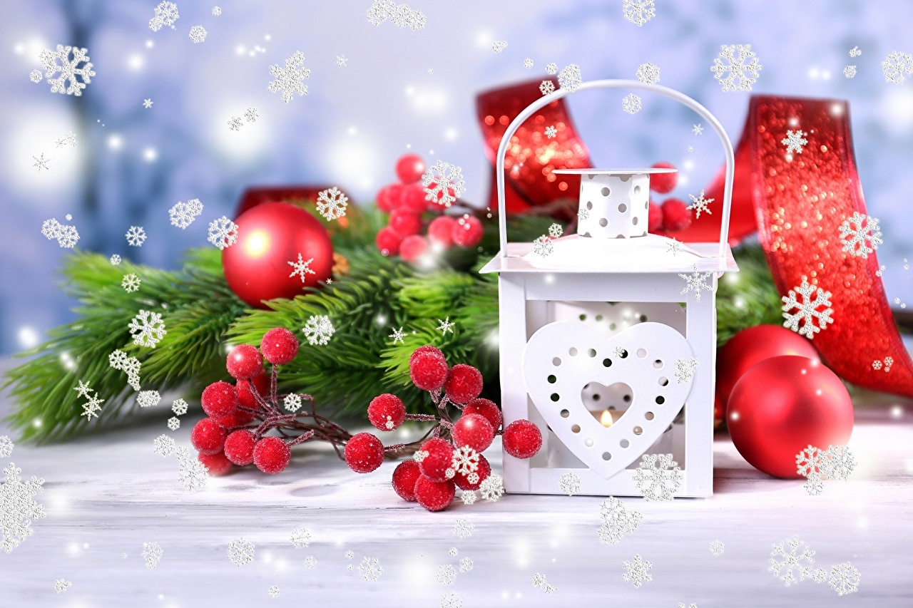 Photo Christmas Lantern Snowflakes Balls Holidays New year
