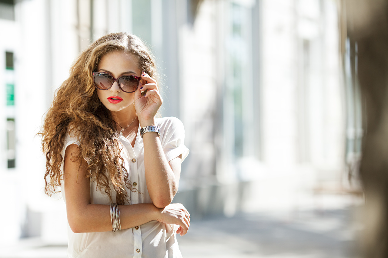 Images blurred background Watch Girls Hands eyeglasses Bokeh female young woman Glasses