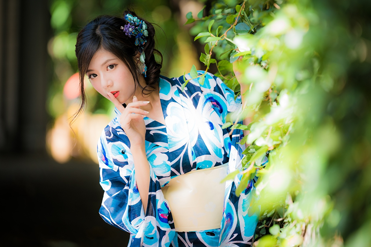 Image Brunette girl gestures blurred background Kimono female Asiatic Hands Branches Glance Gesture Bokeh Girls young woman Asian Staring