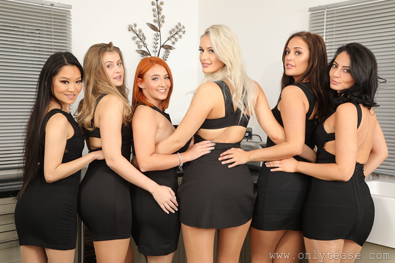 Photos Robyn J Lucy Ava Hollie Q Louisa Lu Becky Bond Paige F Only Blonde girl Redhead girl Brown haired Brunette girl Smile young woman Asian Hands Staring frock Girls female Asiatic Glance gown Dress