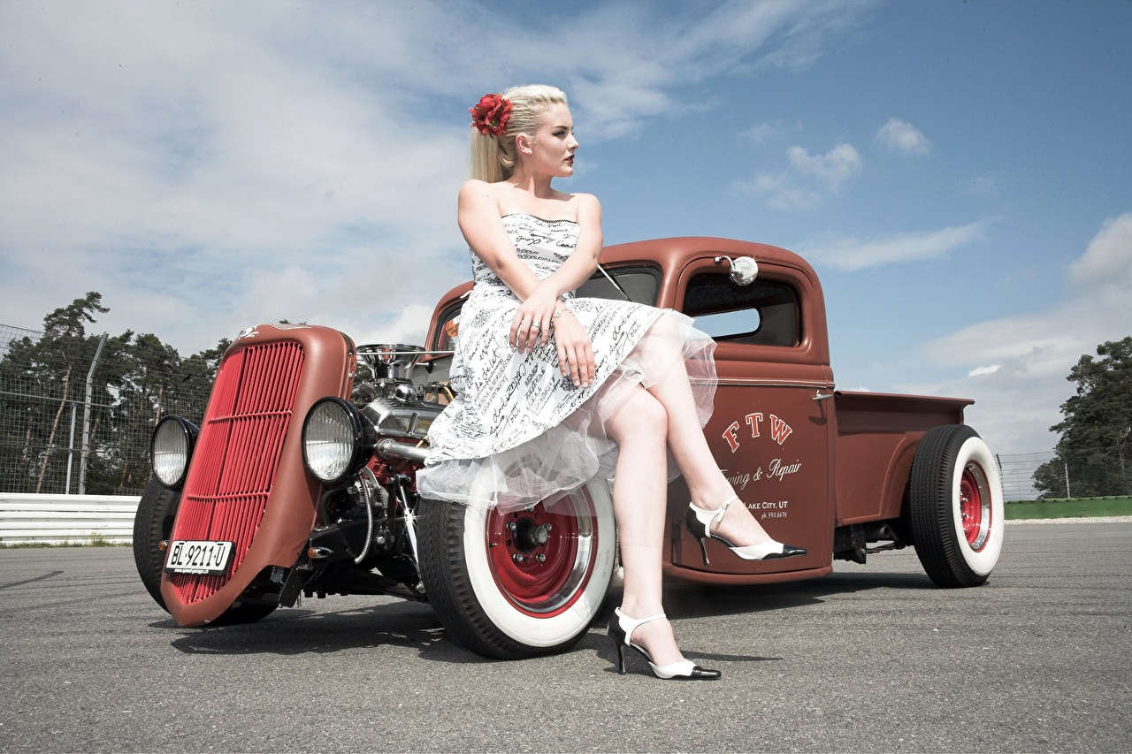 Wallpaper Blonde girl hot rod Retro female Legs Cars Hands Sitting frock high heels Girls vintage antique young woman sit auto automobile gown Dress Stilettos
