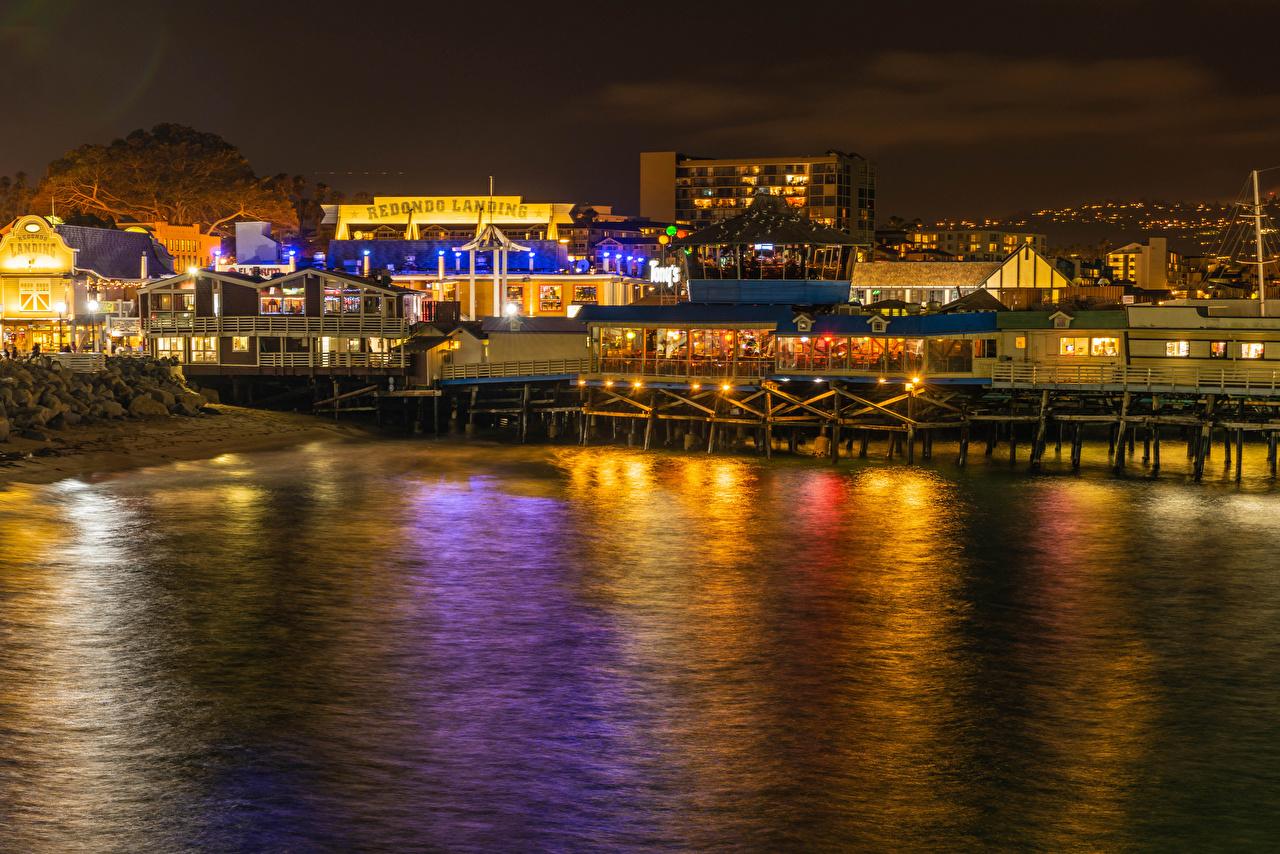 Bilder von Lichtstrahl Kalifornien USA Redondo Beach Café Nacht Küste Haus Städte Vereinigte Staaten Gebäude