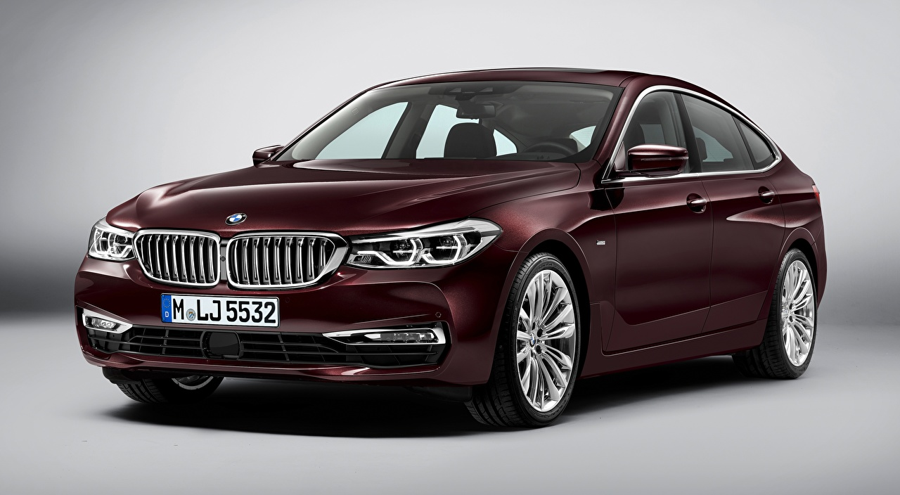 Images BMW Liftback, 630d, xDrive, Gran Turismo, Luxury Line, 2017 burgundy automobile Gray background maroon dark red Wine color Cars auto