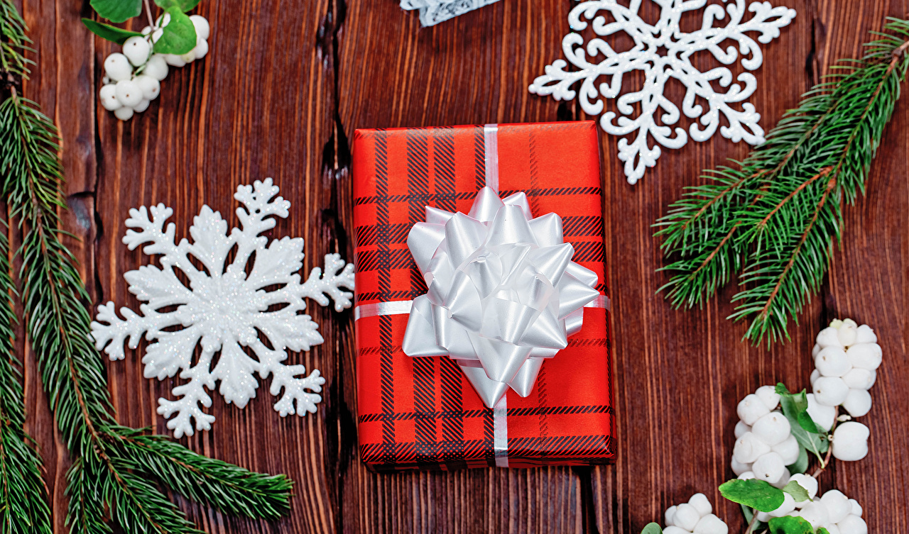 Image Christmas Snowflakes present Branches boards New year Gifts Wood planks