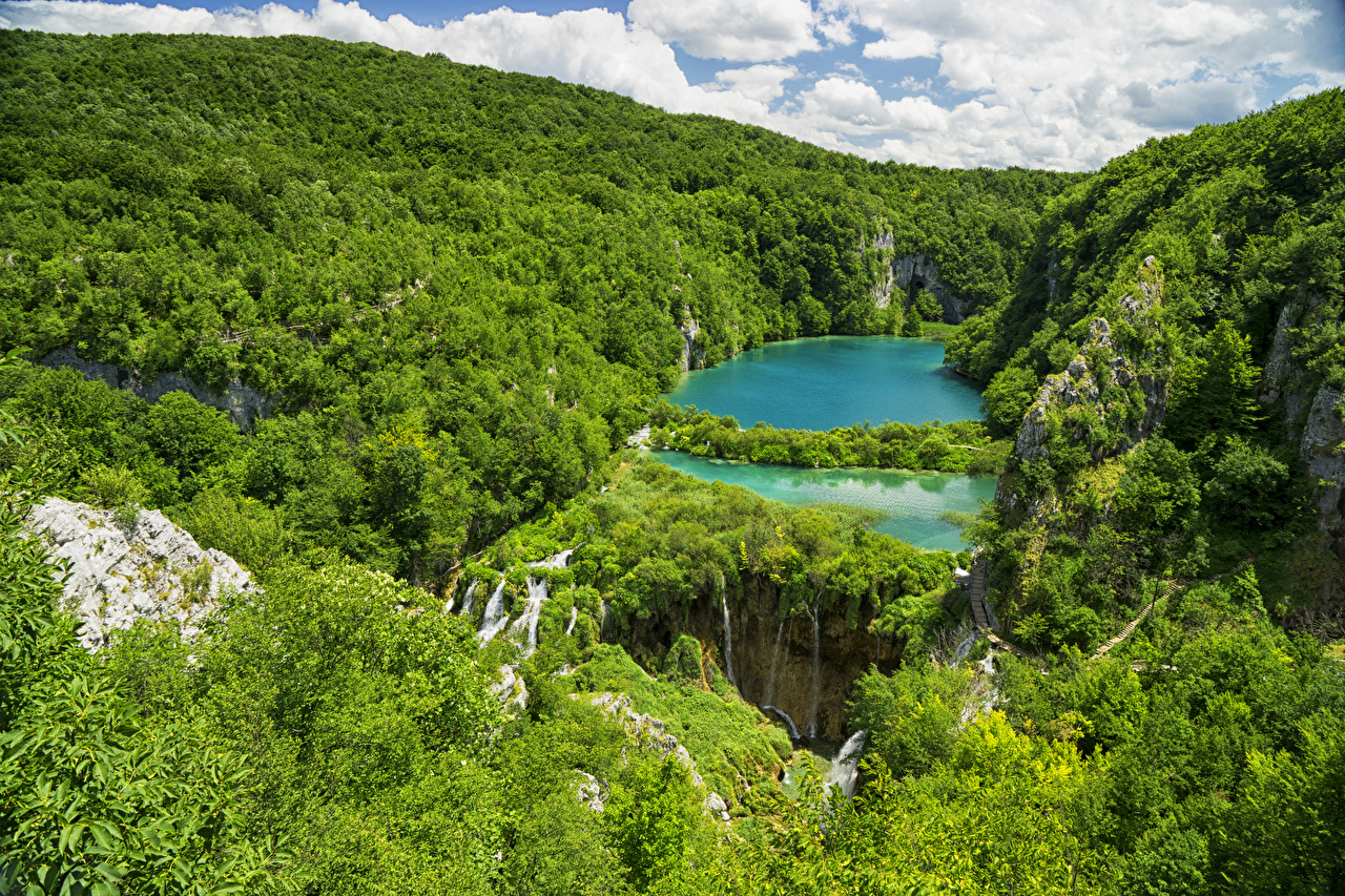 Picture Croatia Plitvice Lakes National Park Crag Nature Lake Parks Forests Rock Cliff park forest