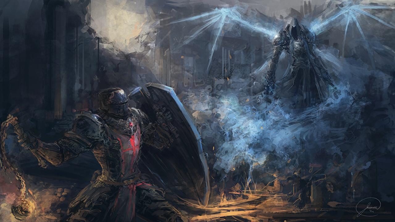 Wallpaper Diablo 3 armour Shield demon Fantasy vdeo game fighting Diablo III Armor Demons Games Battles