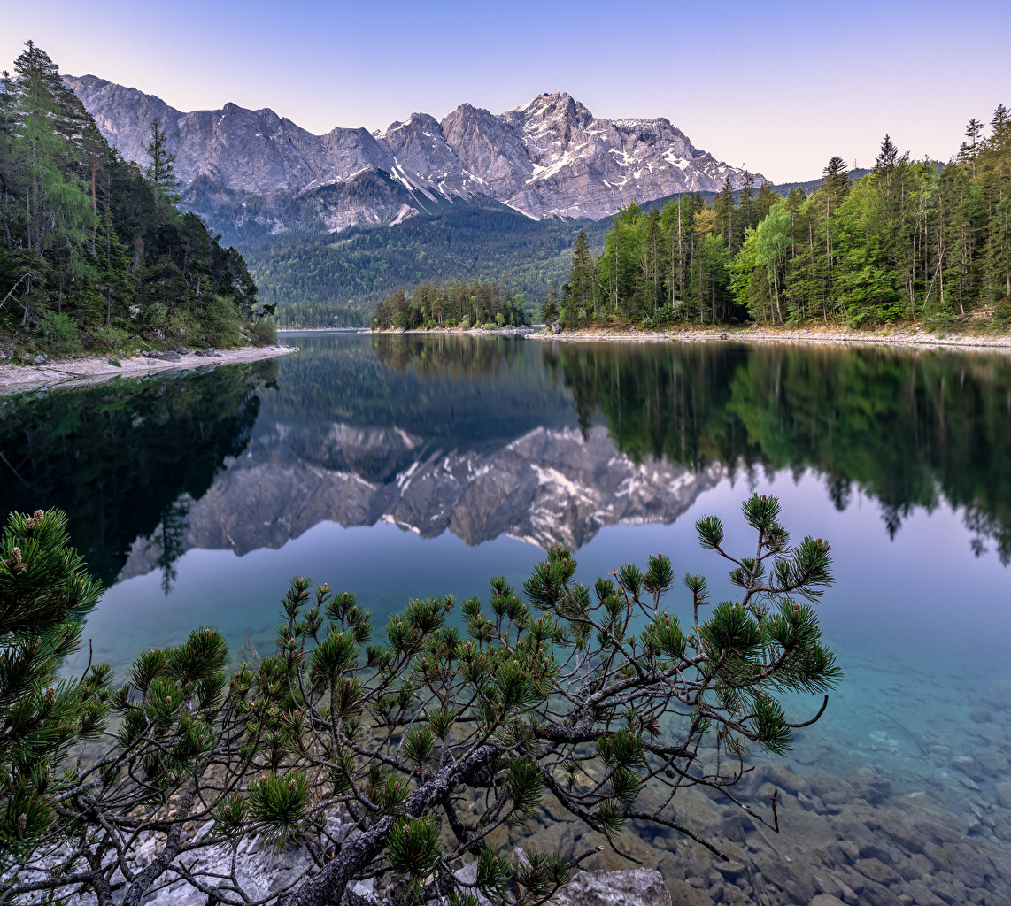 Desktop Wallpapers Alps Germany Upper Bavaria Nature Mountains reflected Rivers Trees mountain Reflection river