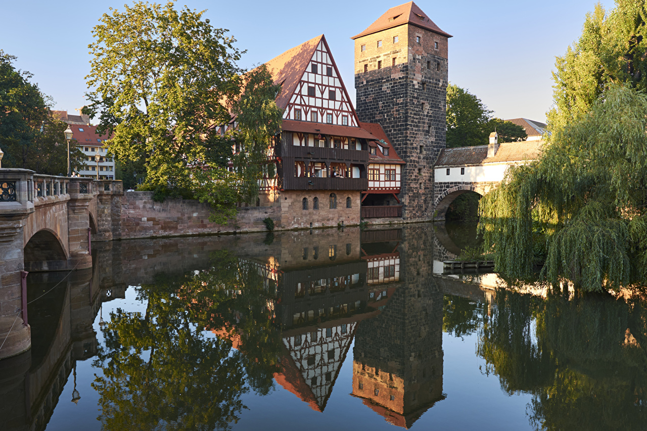 Images Nuremberg Germany Bridges Reflection river Houses Cities bridge reflected Rivers Building