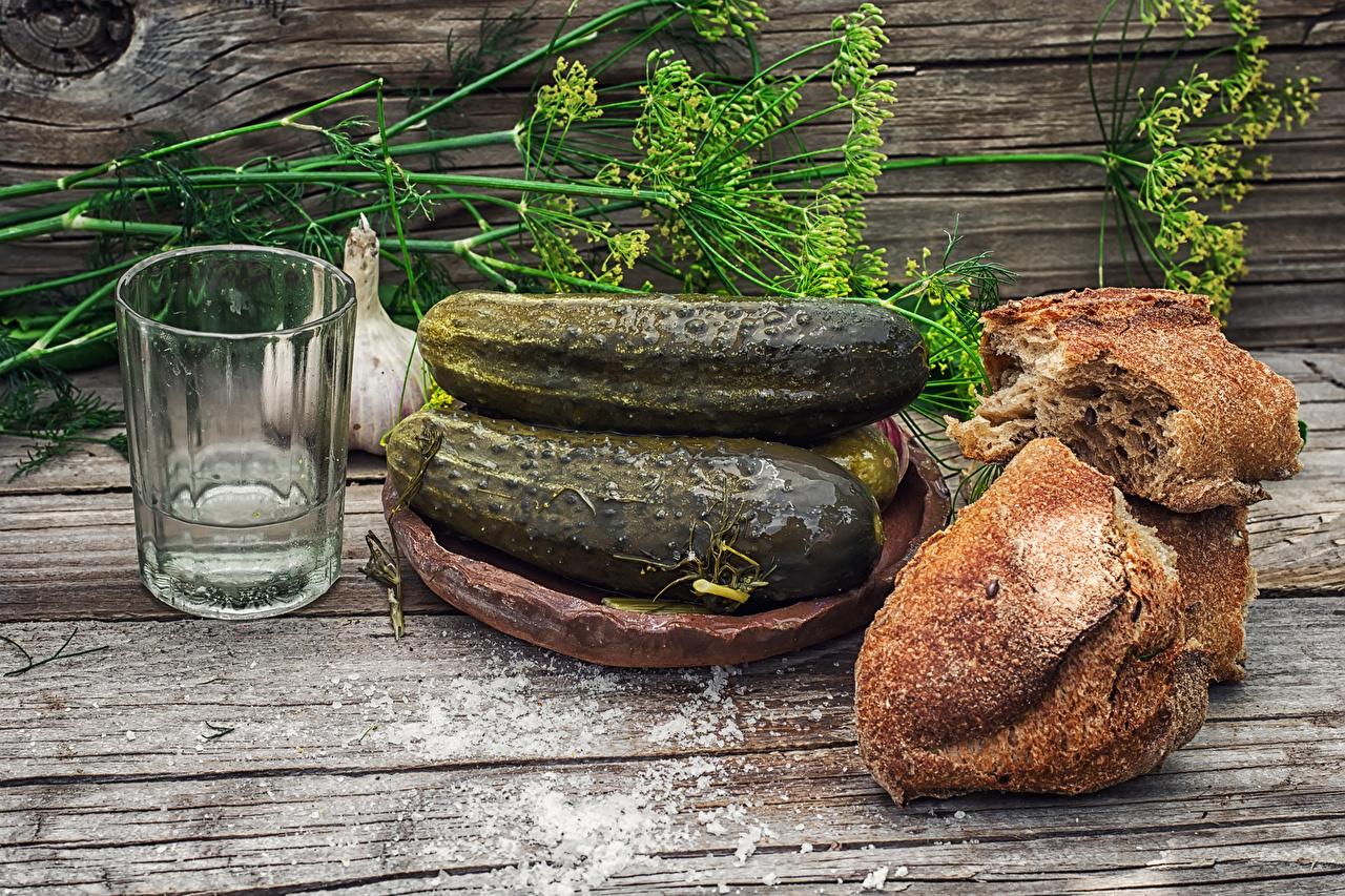 Picture Vodka Cucumbers Dill Bread Highball glass Food Still-life Wood planks boards