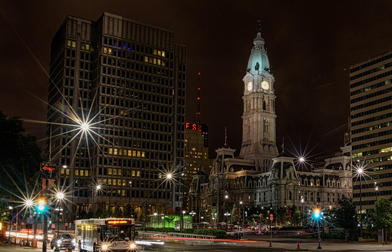 Images Rays of light USA Philadelphia Street night time Street lights Cities Building Night Houses