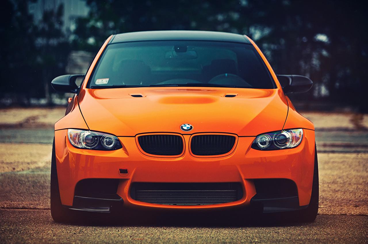 Bilder BMW M3 Orange Vorne Autos