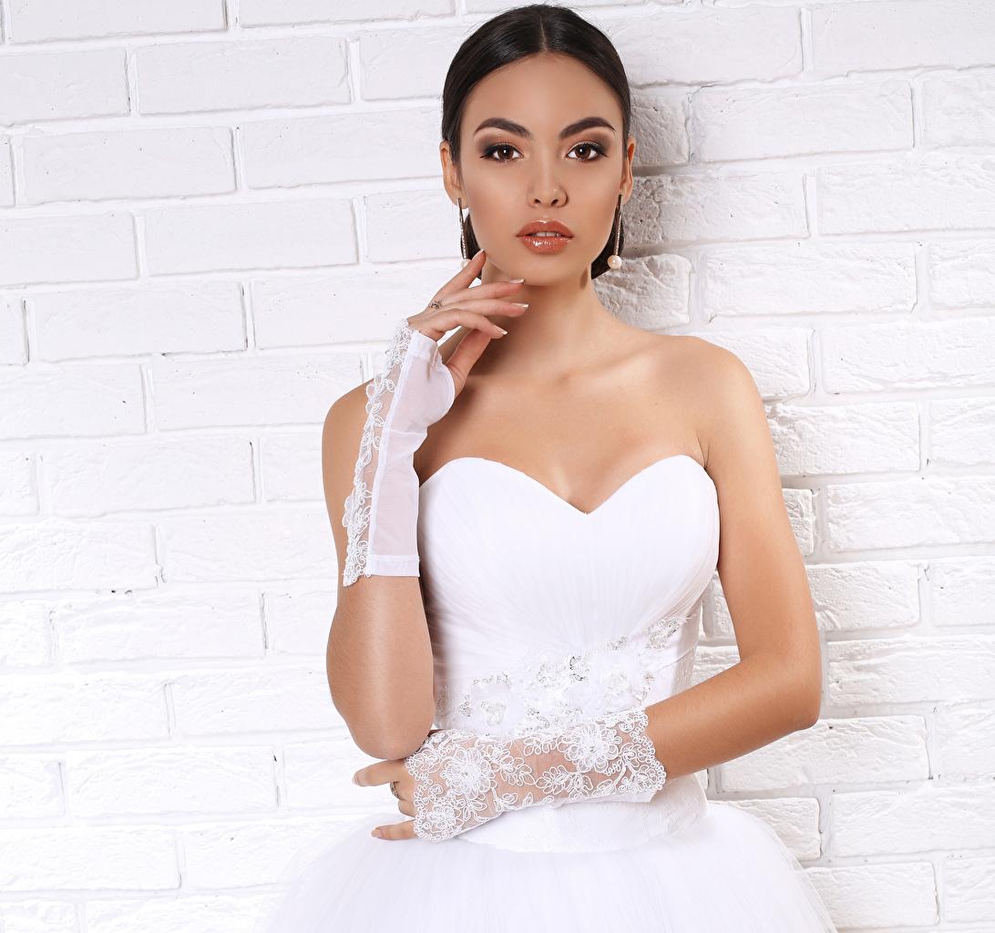Desktop Wallpapers brides Brunette girl Glove Girls Hands frock Bride female young woman gown Dress