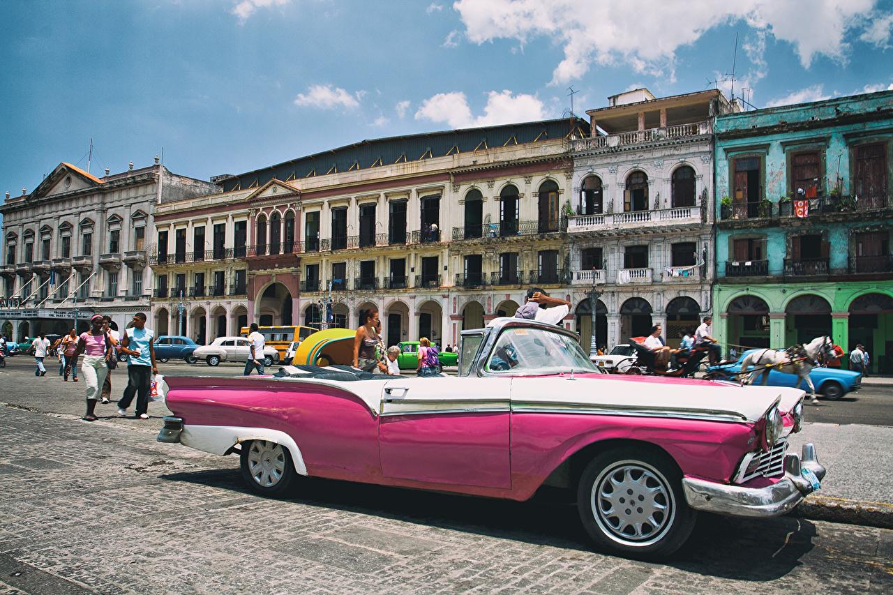 Wallpaper Cadillac Cuba Havana Cabriolet Pink Color Auto