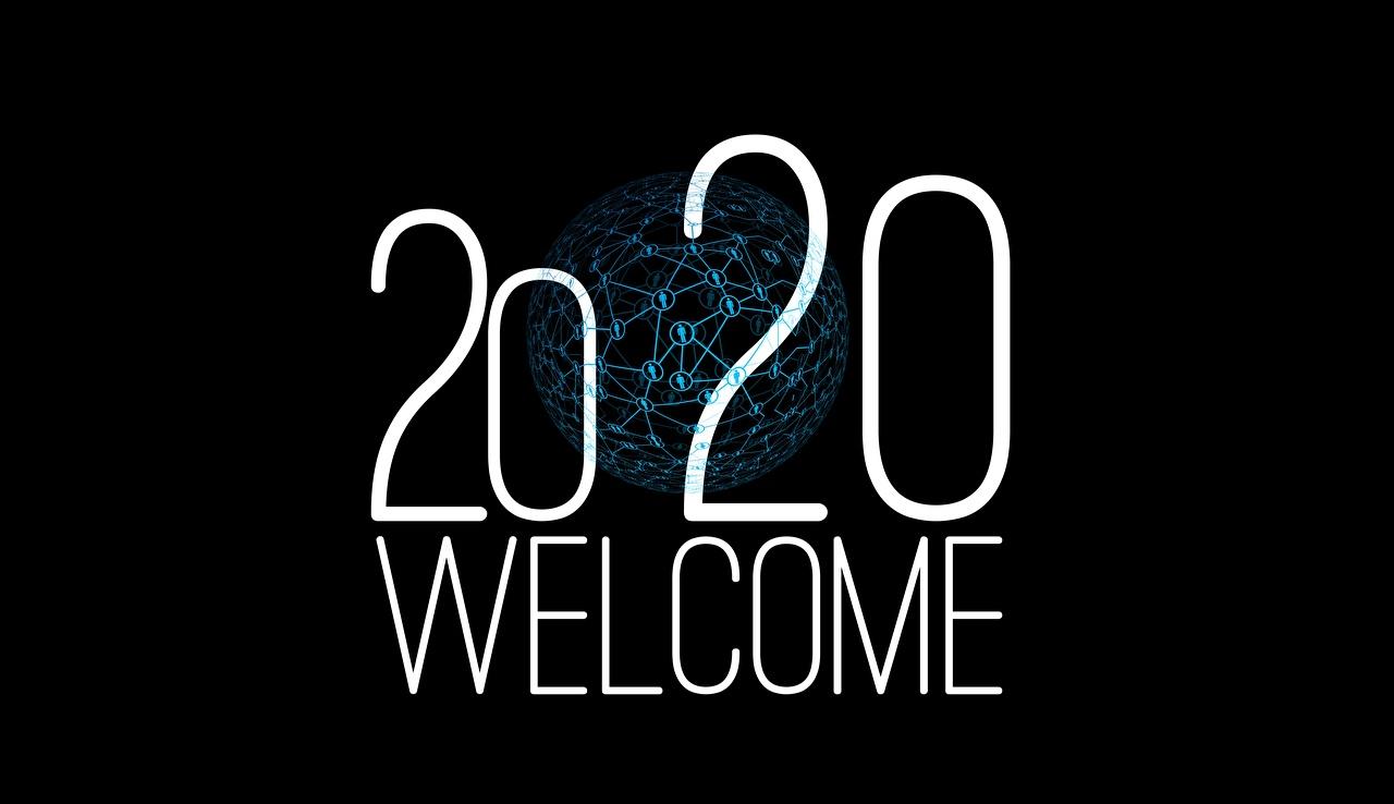 壁紙 新年 Welcome 黒色背景 2020 単語 英語 ダウンロード 写真
